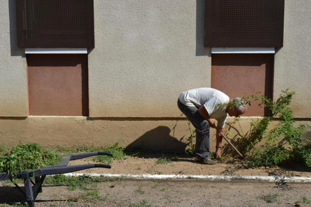 Notre jardinier dans l'effort