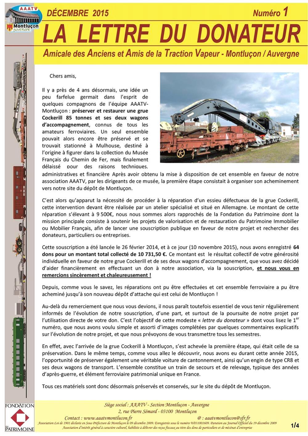 Lettre donateur page 1